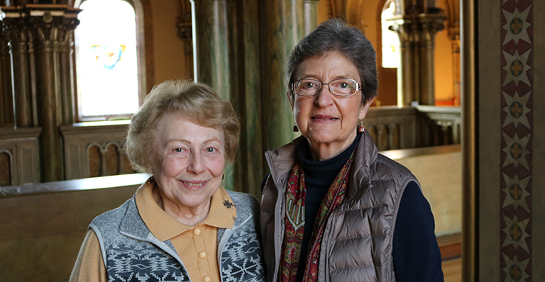 Sisters Fran Sulzer and Beth Saner in Mary of the Angels Chapel