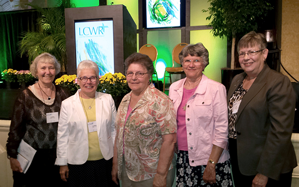 Sisters Karen, Karen, Catherine, Helen and Julie at LCWR meeting