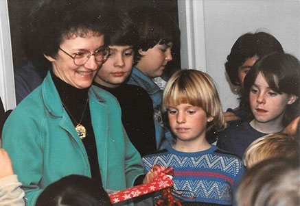 Sister Betty with students in 1987
