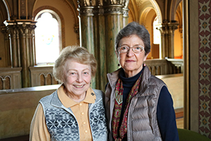 Franciscan Sisters of Perpetual Adoration, Sister Fran Sulzer and Sister Beth Saner pose in Mary of the Angels Chapel