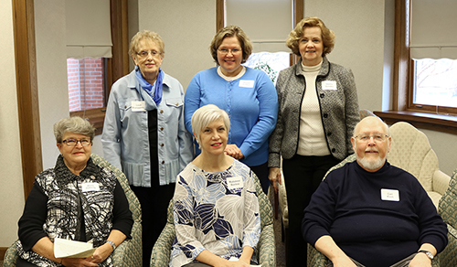 Right, front row, Doris Doherty, Madalene Buelow and Carl Koch;  back row, Leah Brueggeman, Donna Schleis and Donna Brenden.
