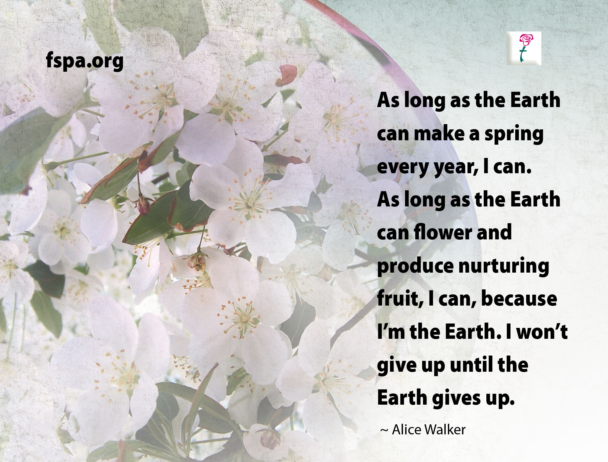 Flowers with Earth Day quote