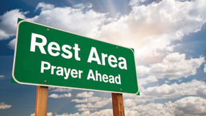 Rest Area Sign that reads Prayer Ahead