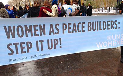 Sign at U.N. Commission on Status of Women