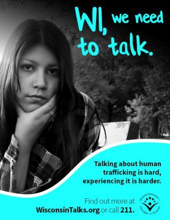 WI we need to talk poster encouraging talking about human trafficking