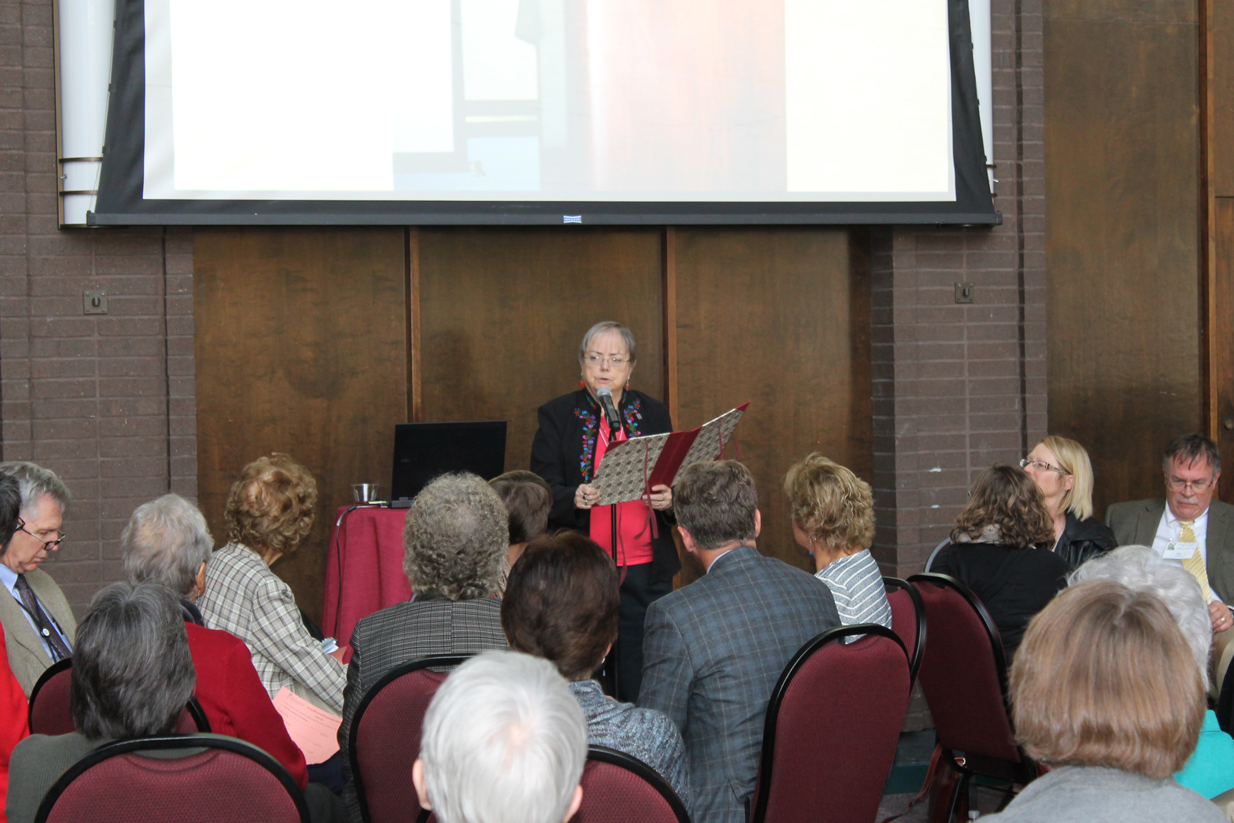 Sister Jean addresses group