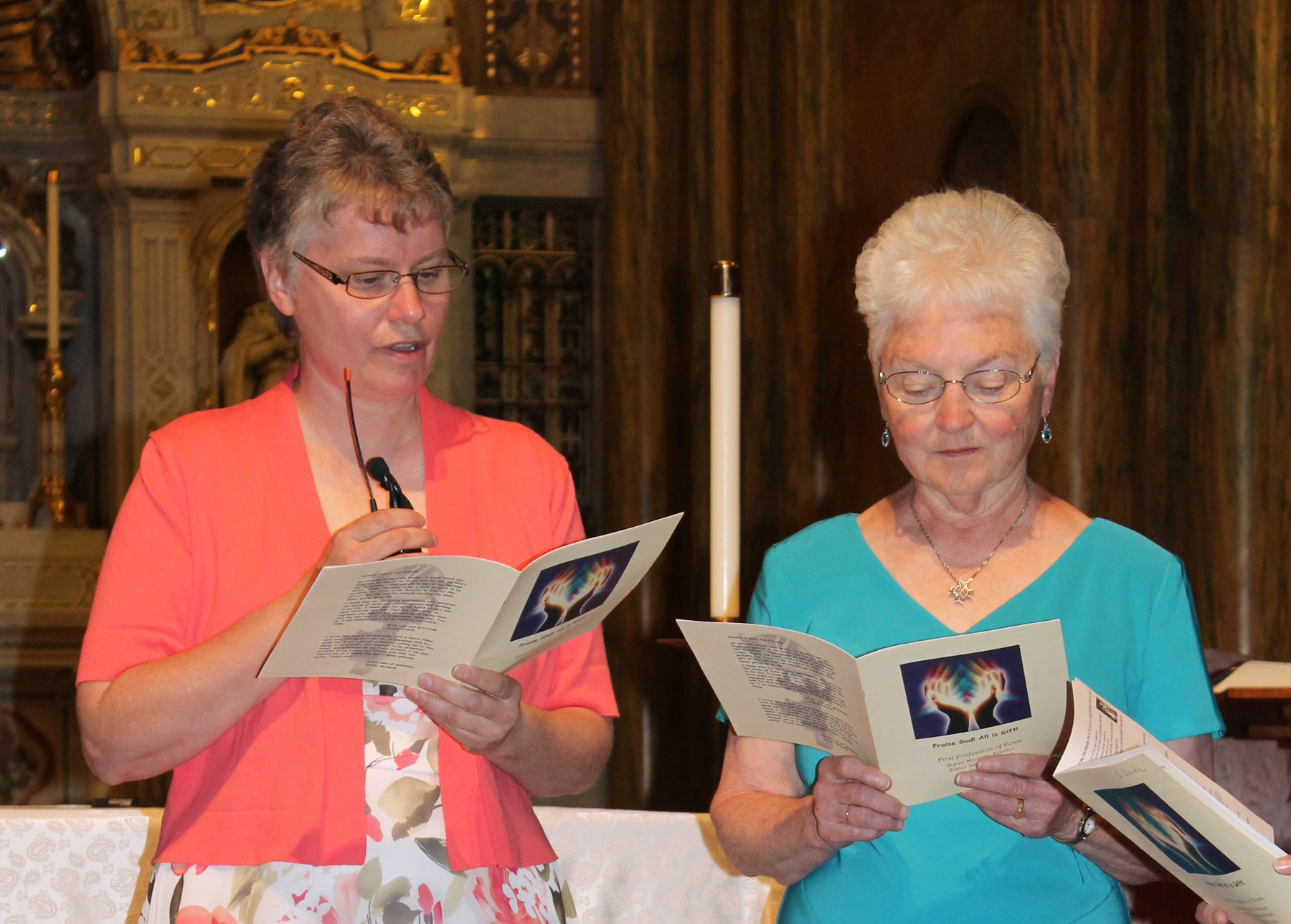 Sister Laurie, saying vows, and Sister Karen