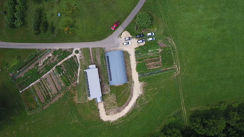 Aerial view of organic garden at Villa St. Joseph