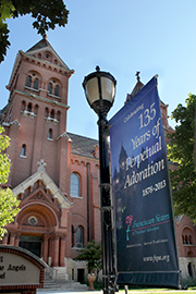 Banner out side chapel marking 135 years of Perpetual Adoration