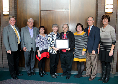 Christian mission award winnrers with Sister Jean Moore