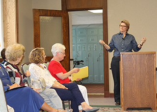 Erin Healy speaking at St. Rose Convent