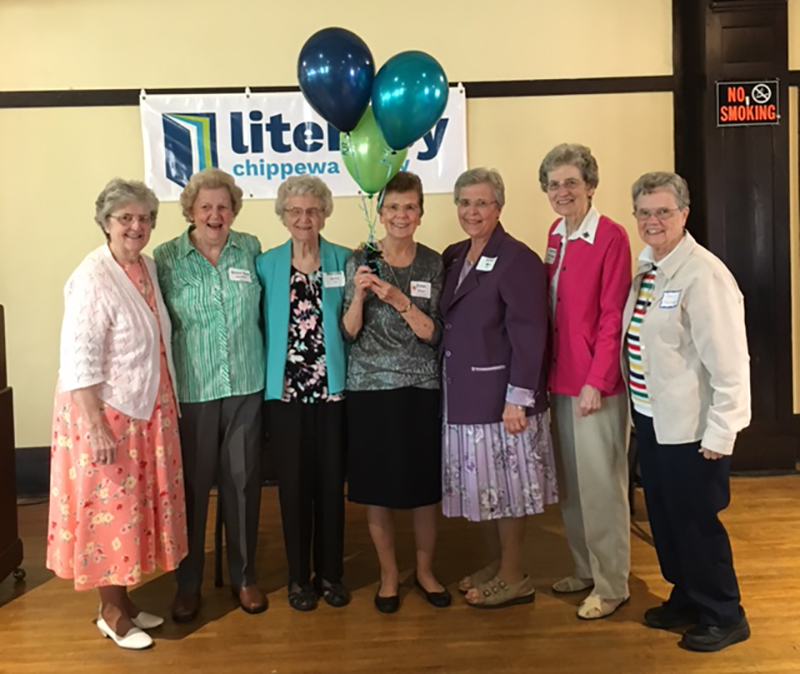 Sisters Mary Ann Gschwind, Grace Ann Schiffer, Marcella Anibas, Diane Boehm, Esther Leis, Laverne Wilichowski, and Mary Morrissey