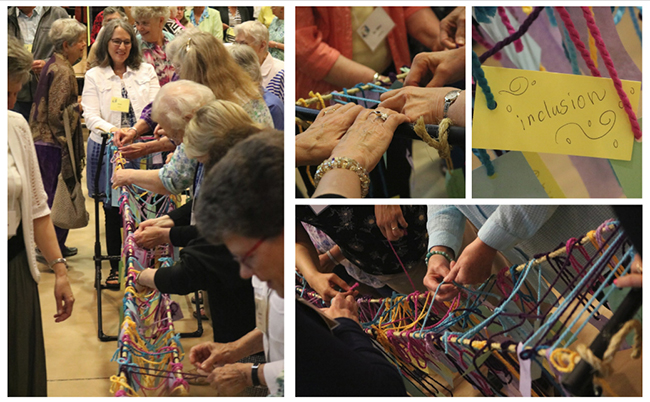 Sisters, affiliates, honored guests and FSPA staff build a bridge of goodness with yarn carrying their declarations of kindness