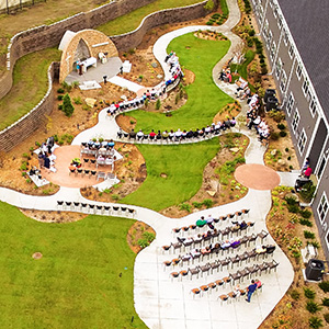 Aerial view of FSPA at St. Anthony Hospital during Founders Day celebration