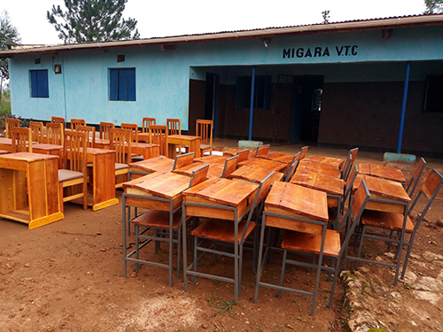 desks ready to be used in classrooms