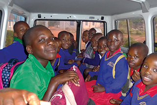 Kids in van for ride to school