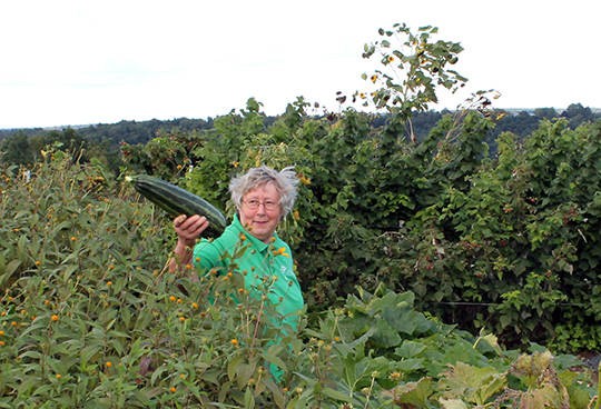 Sister Lucy with garden produce