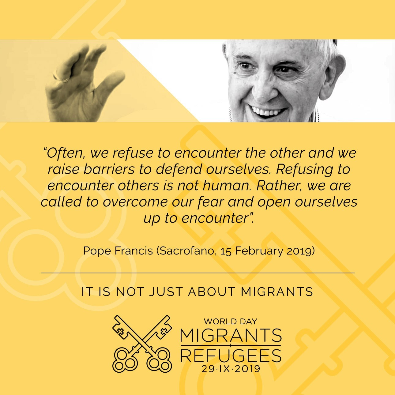 Pope Frfancis quote on migrants and refugees
