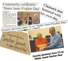 Headlines proclaiming Sister Janet Fischer day