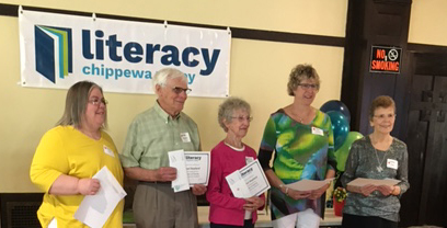 Sister Diane Boehm and other recipients of literacy award