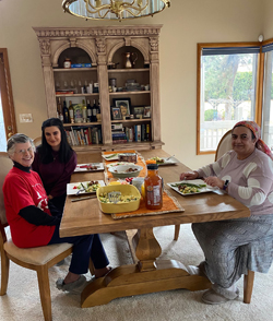 Sister Kathy Roberg with Nur and Zeynep from Turkey