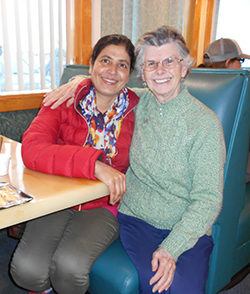 Sister Kathy Roberg and Radha from Nepal