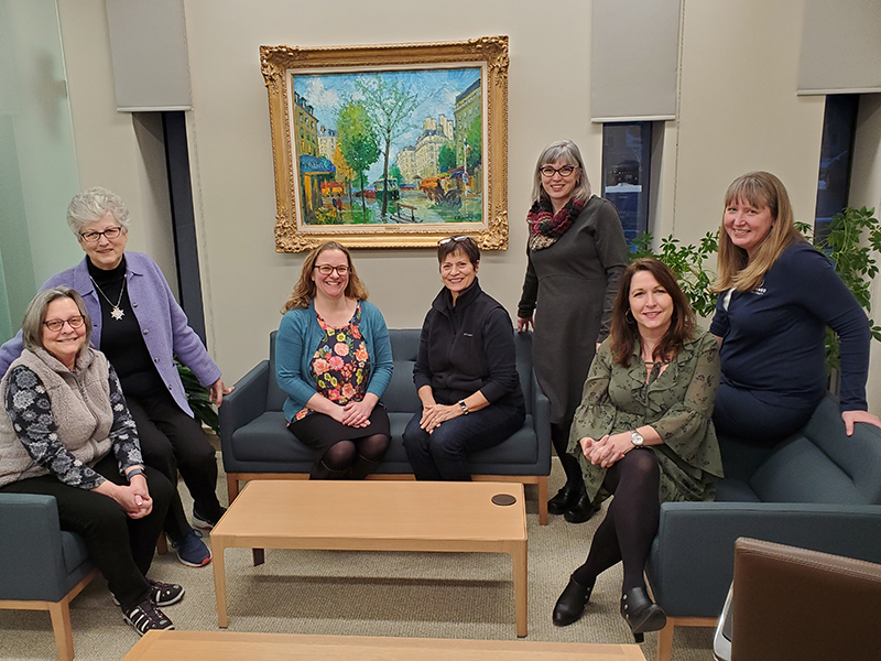 Debra Murray, Sister Lucy Ann Meyer, Emily Dykman, Rosalie Hooper Thomas, Karen Hellman, Peggy Johnson and Glena Temple.