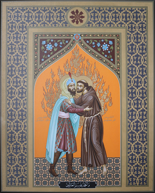 Wood plaque - St. Francis and The Sultan by Brother Robert Lenz, OFM