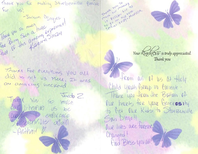 Thank you card from holy child youth group