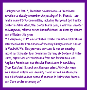 Transitus celebration at Marywood Spirituality Center